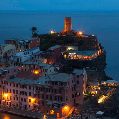 Night view of Vernazza, town in Cinque Terre National Park (Parco Nazionale delle Cinque Terre), Italy.