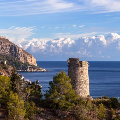Ancient watchtower near Nerja on Andalusia coast in Spain.