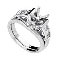 Women's 18K White Gold Diamond Bridal Mounting Set SM8-041677W