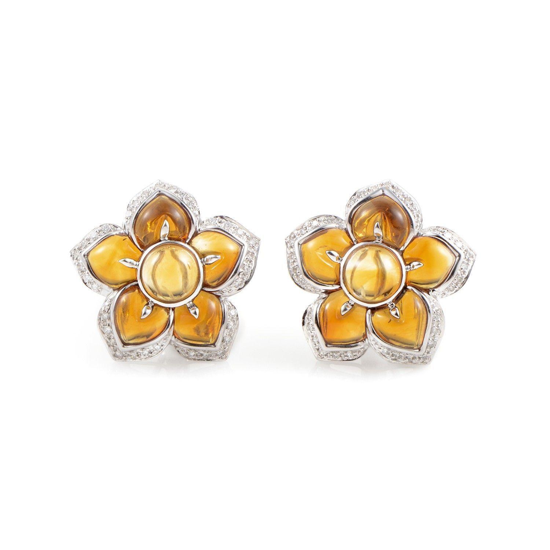 Women's 18K White Gold Diamond & Citrine Flower Earrings