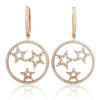 Women's 18K Rose Gold Diamond Stars Dangle Earrings CED9162