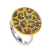 18K Yellow Gold Cheetah Print Black & Yellow Diamond Pave ...