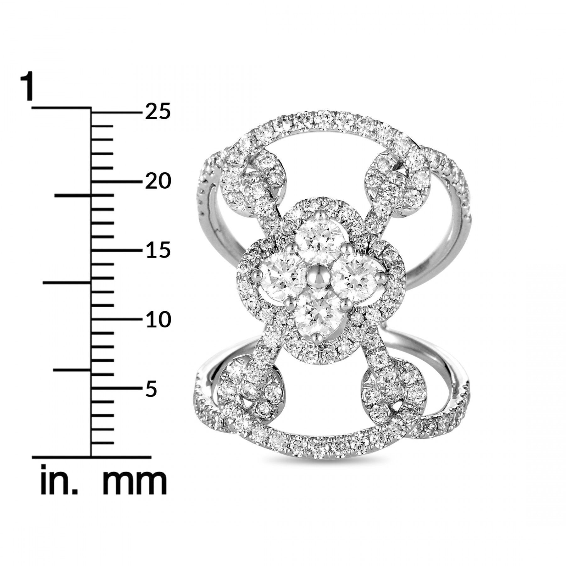 LB Exclusive 18K White Gold Diamond Pave Flowers Openwork