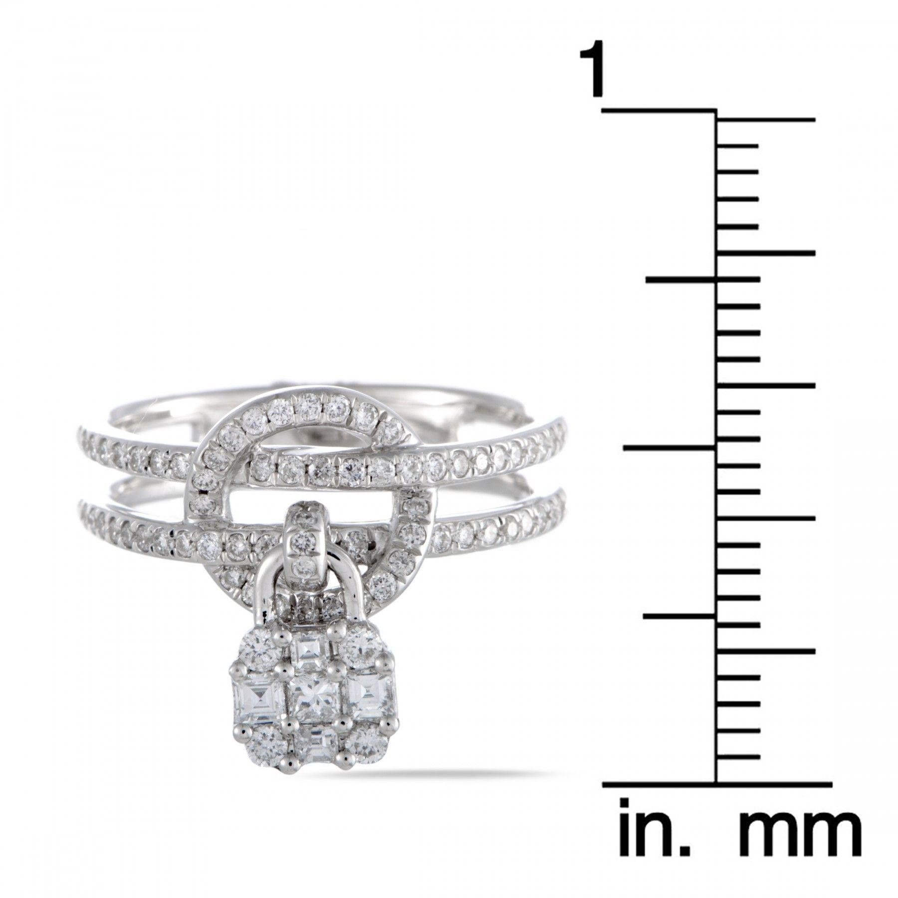18K White Gold Round and Baguette Cut Diamonds Charm Band