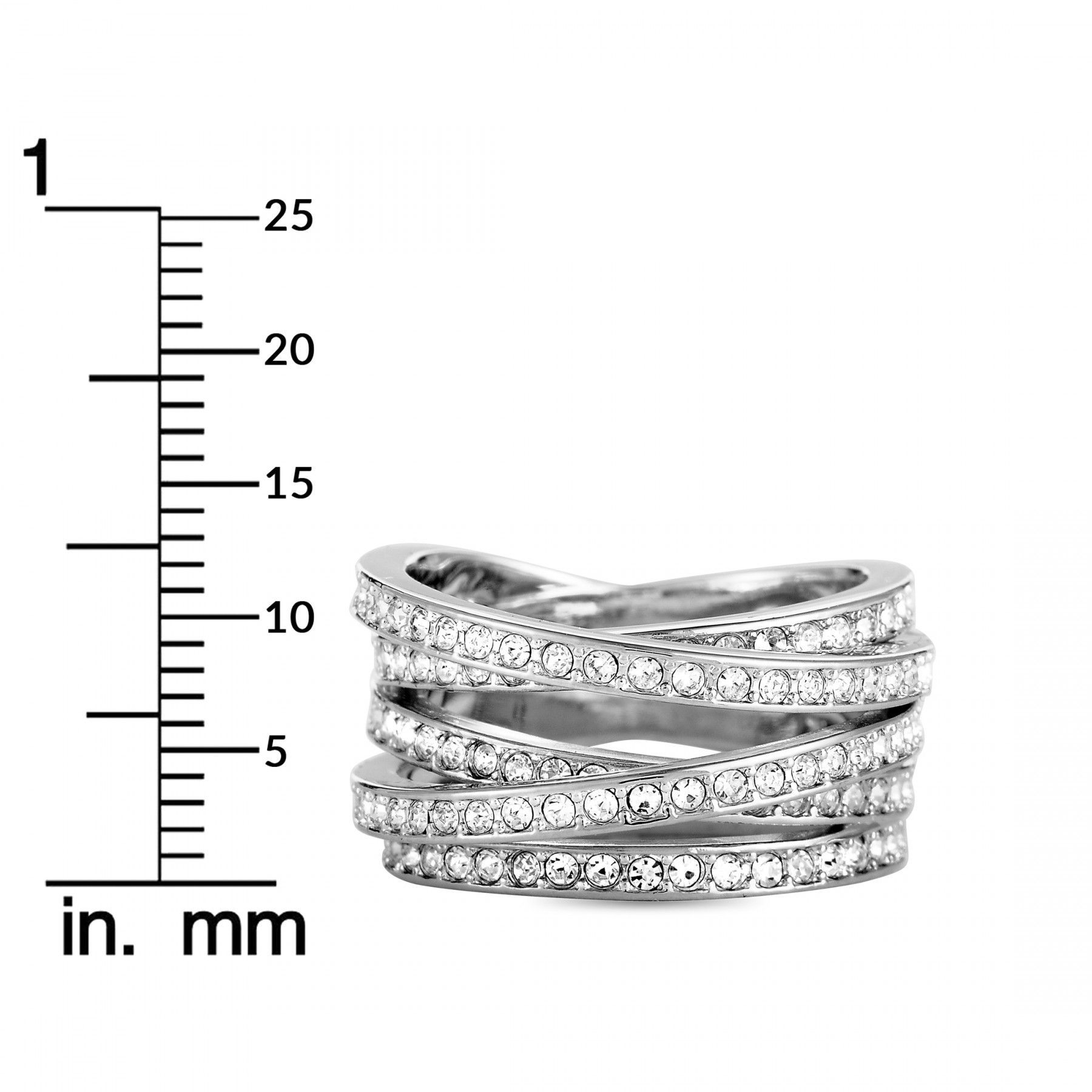 Swarovski Spiral Stainless Steel and Crystal Band Ring
