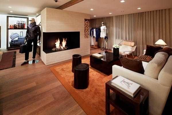 Firepace inside the Louis Vuitton Winter Resort in Gstaad, Switzerland.