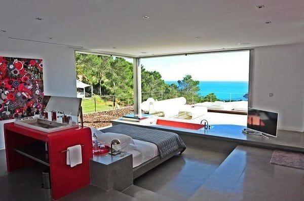 bedroom in a luxury Ibiza villa