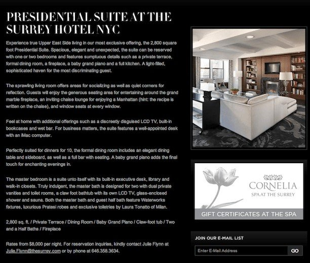 the surrey presidential suite