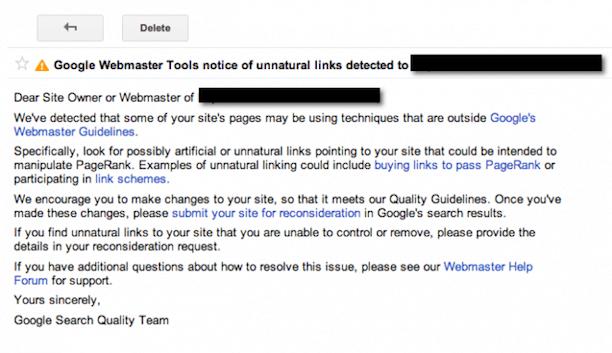 google webmaster manual penalty unnatural links