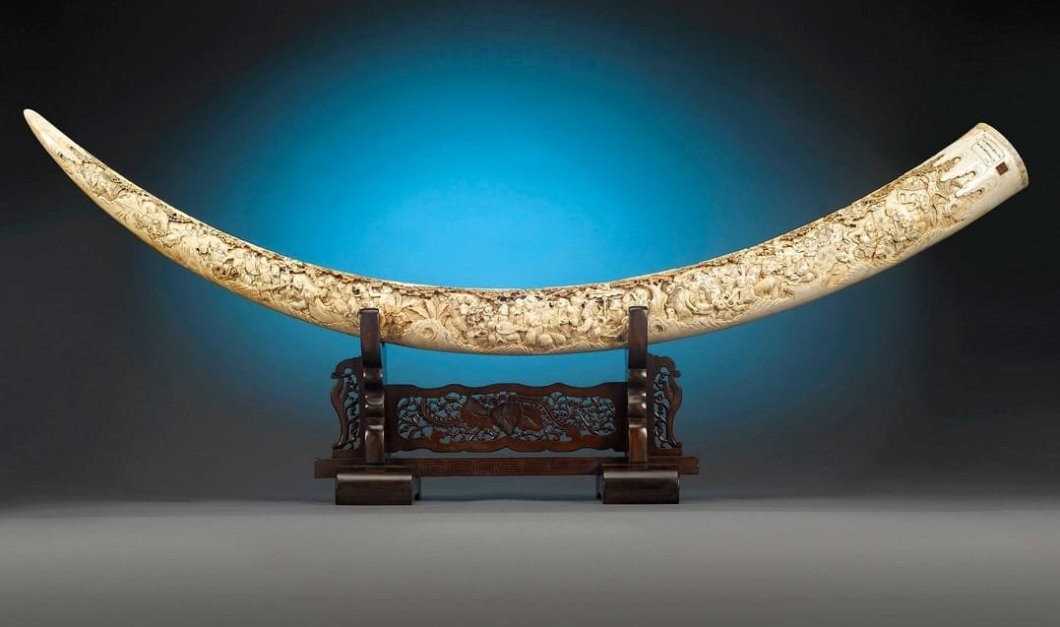 Banquet of the Gods Japanese Carved Elephant Tusk