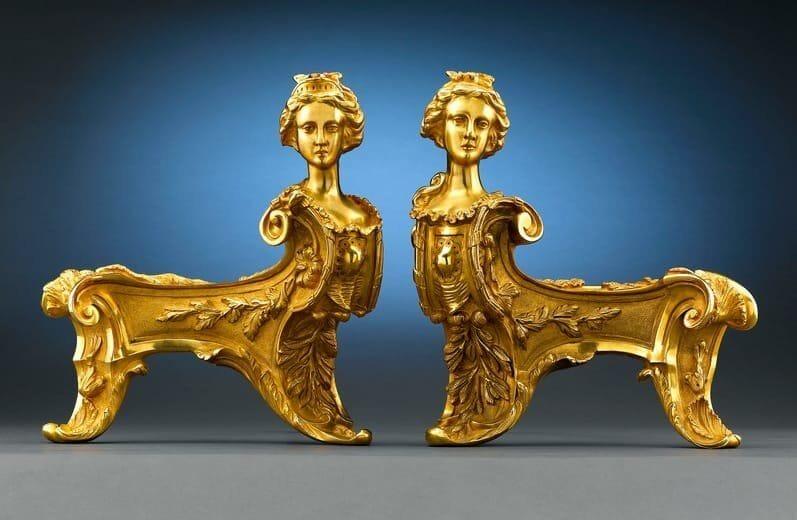 Pair of Bronze Rococo Chenets