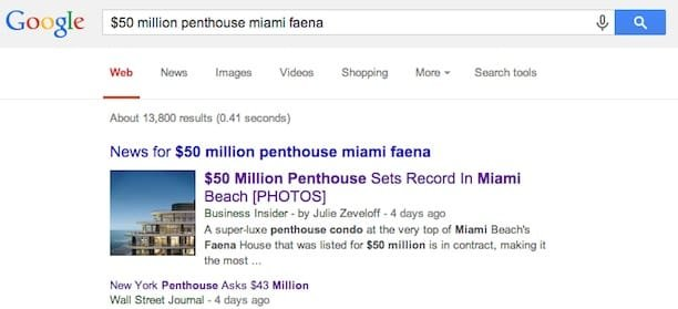 Faena Penthouse Marketing Results