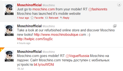 Tweets and Retweets about mobile for Moschino