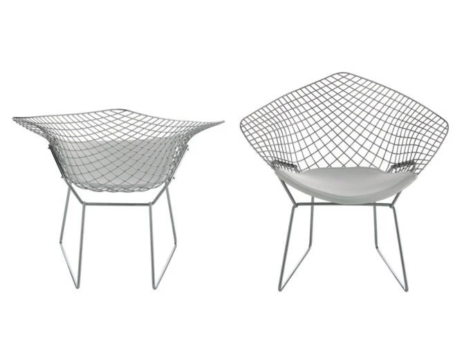 Armchair with frame of chromed steel wire and upholstery
