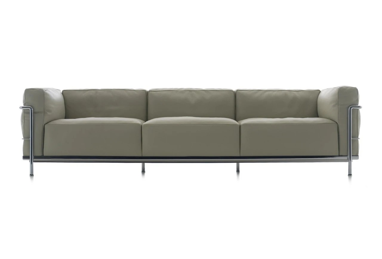 lc3 sofa lounge bed by muller wulff three seater on a steel frame cassina luxury