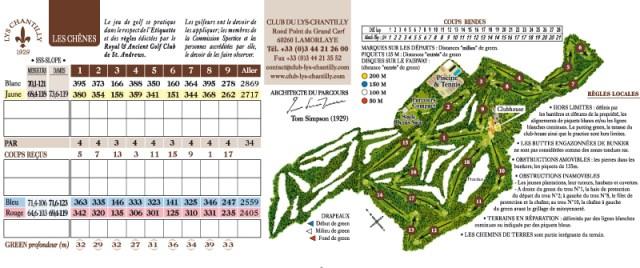 Golf Club du Lys Chantilly - carte du parcours.