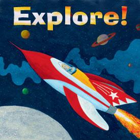 Kids Rockets Spaceships Solar System Theme Childrens