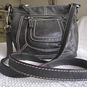 Danier Black Leather Crossbody Bag
