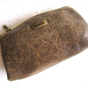 Ferchi Brown Leather Accessories Pouch