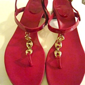 Gucci Cherry Patent Leather Horsebit Sandals