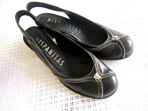 Hispanitas Black Leather Slingback Sandals
