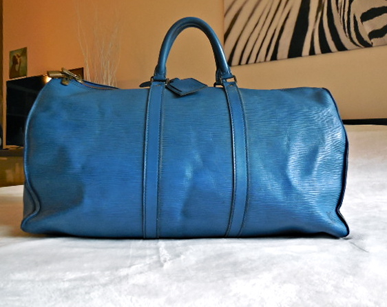 b61cc9aa716 Louis Vuitton Keepall 50 Blue Epi Duffel Bag - Luxurylana Boutique