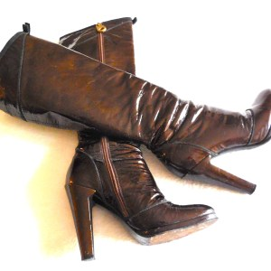 Marc by Marc Jacobs Brown Patent Leather Knee-High Boots