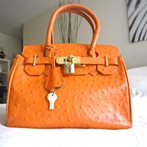 Orange Genuine Leather Satchel