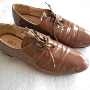 Prada Beige Patent Lace Up Oxfords Shoes