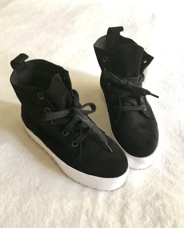 Shellys London Black Suede Murci-Platform Sneakers-1
