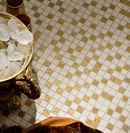 Feel Luxury tiles with gold and platinum detailing are