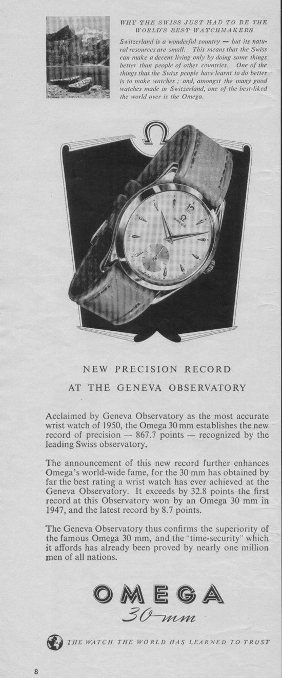 Vintage Ads  Omega 30mm in 1951 Life Magazine