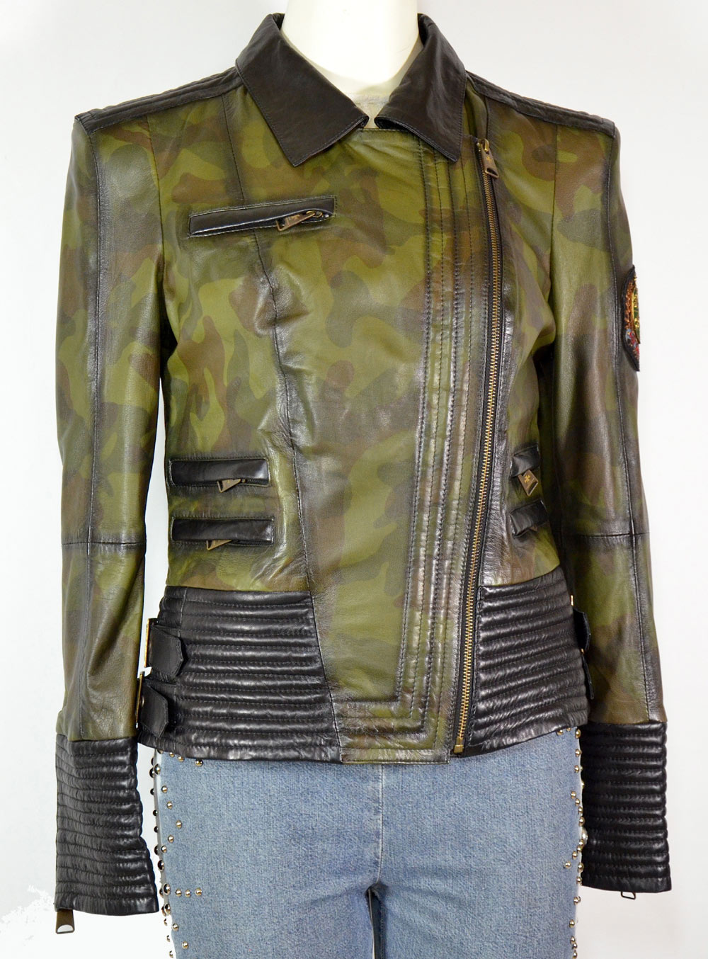 eae1f50f51283 Biker jacket leather green camouflage - Luxury Leather Couture by ...