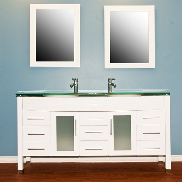 cambridge plumbing 8129w 63 white wood glass double sink vanity set with polished chrome faucets