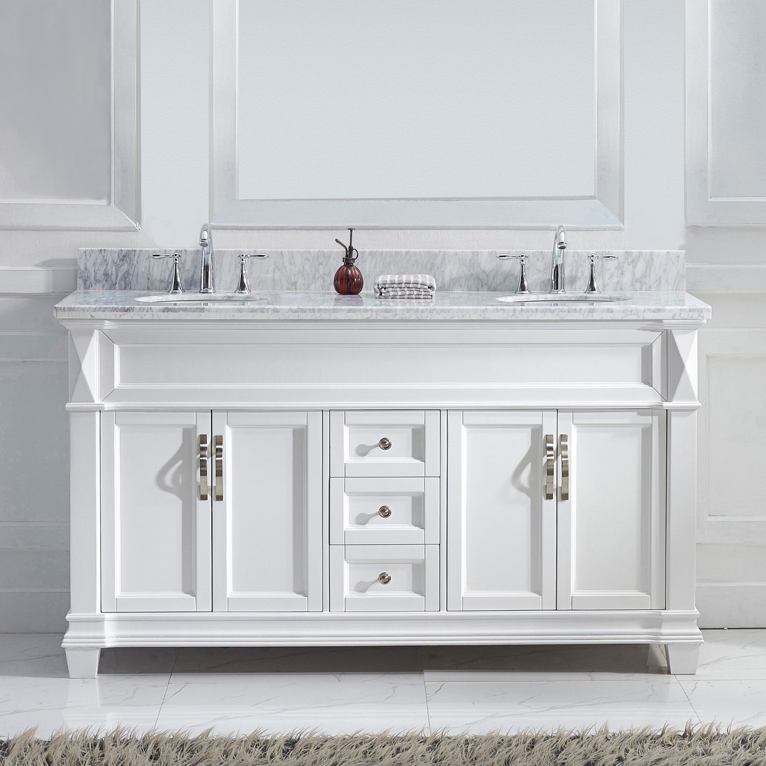 Virtu Usa Victoria 60 Md 2660 Wmro Wh Nm Double Sink Bathroom Vanity In White