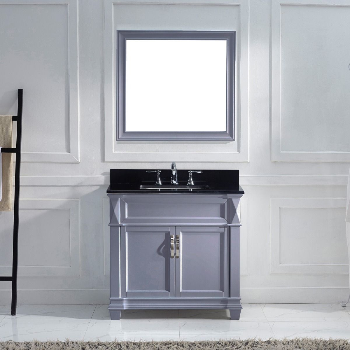 Victoria 36 Ms 2636 Bgsq Gr Single Bathroom Vanity In Grey With Black Galaxy Granite Top And Square Sink With Mirror