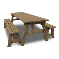 6FT Wooden Garden Table and Bench Set