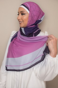 Geometric Hijab in Purple