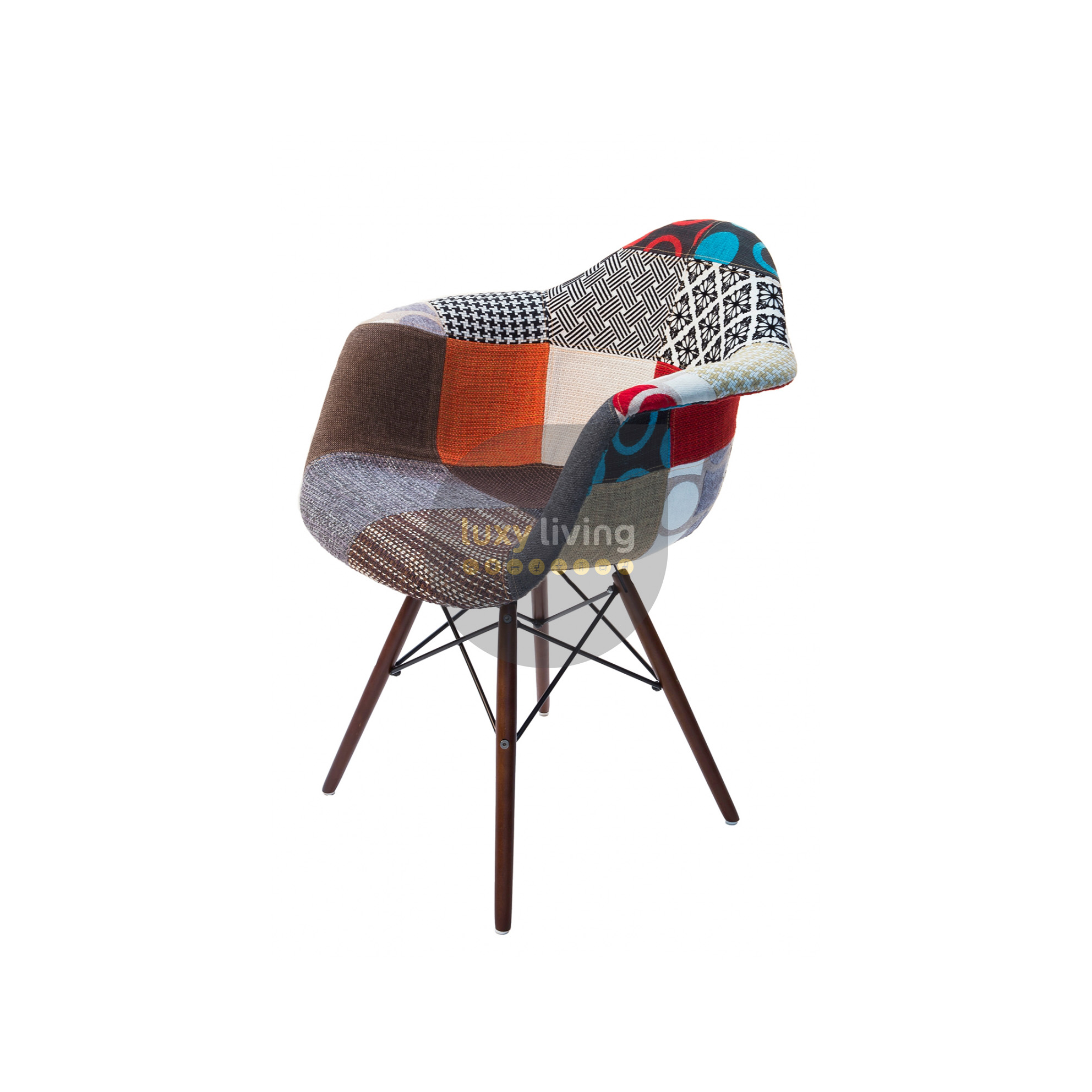 eiffel chair wood legs lawn chairs for heavy people replica eames daw multi coloured patches natural v2 0