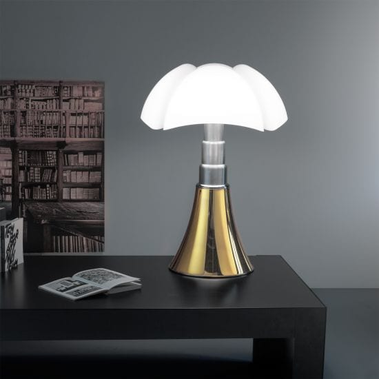 lampe luminaire luxe de table pipistrello aluminium satine or
