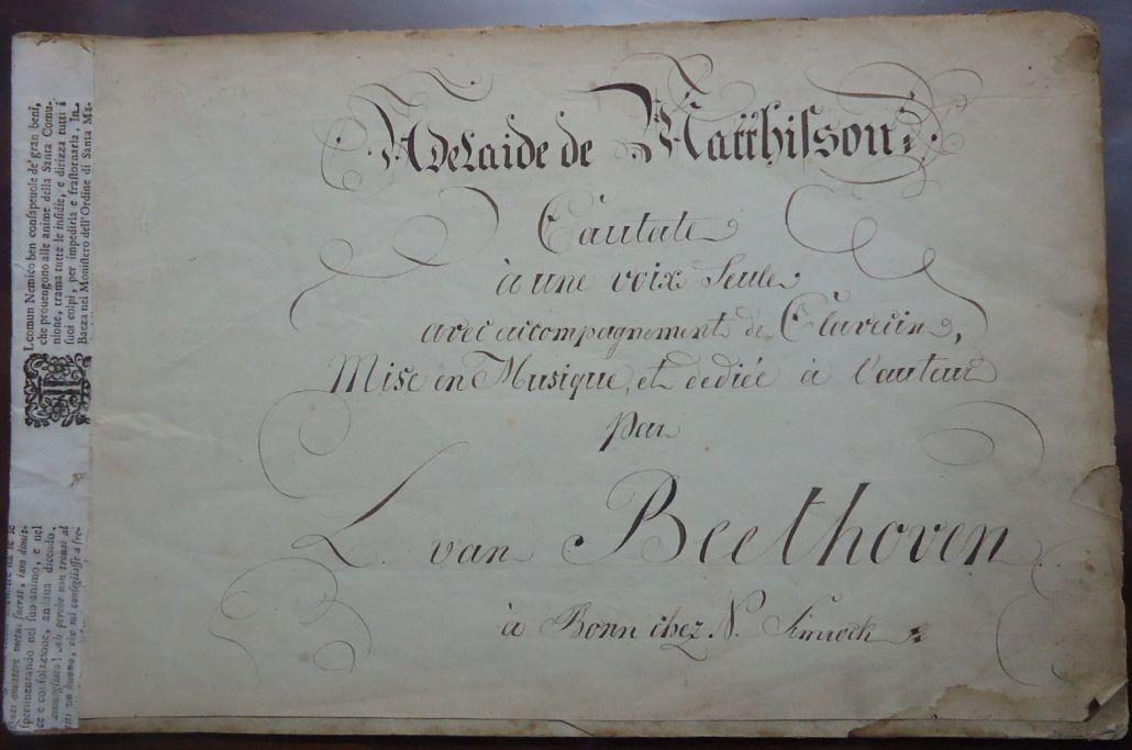 Opus 46 Adelaïde - copia manoscritta di proprietà del Centro di Ricerche Musicali,