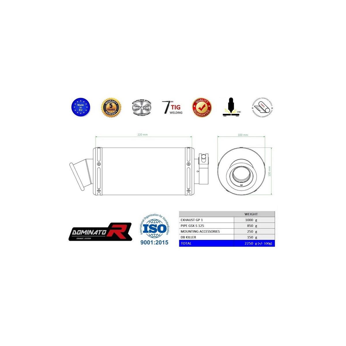 Výfuk SUZUKI GSX-R 125 2017- DOMINATOR full system