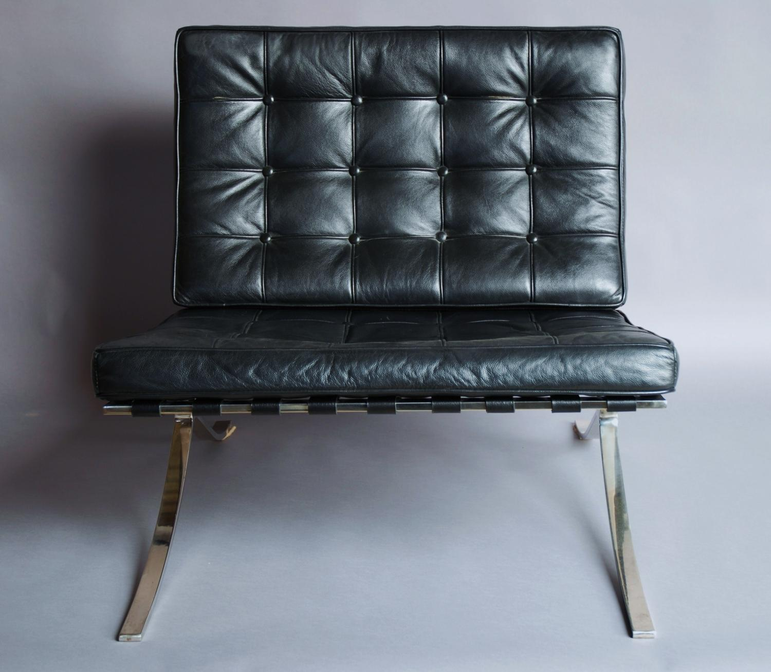 barcelona chair leather rattan chairs living room and stool in black sold archive