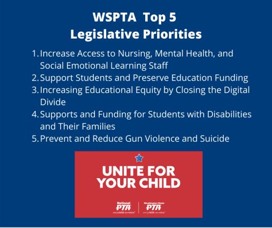WSPTA top 5 legislative priorities 2020-2022