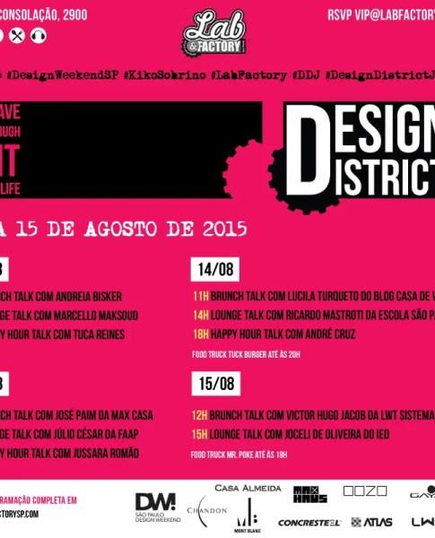 Folder com informações sobre o evento que será realizado dos dias 12 à 15 de Agosto de 2015. Folder com informações escritas em preto e com detalhes em branco e amarelo dourado.