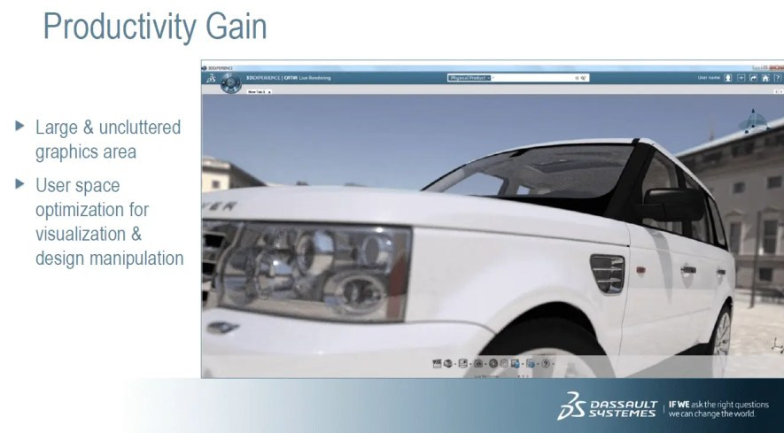 Dashboard do novo Catia 3DExperience com imagem de carro Land Roaver branco no fundo. Continue conferindo nosso artigo.
