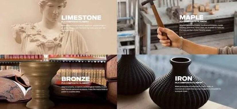 Busto de estátua impressa em mármore, cabo de martelo impresso em madeira, cálice impresso em bronze e vaso impresso em ferro.