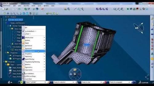 Modelo de peça industrial automotiva criada a partir do Software Catia V6.