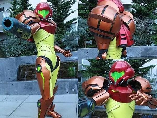 Cosplay de Metroid impresso em impressora 3D. Foto dividida em 3 partes. A primeira, mostrando o corpo inteiro do figurino, a segunda mostrando as ombreiras (bronze com detalhe preto) e a terceira mostrando o capacete (tons de vermelho com viseira verde limão e peitoral amarelo claro).