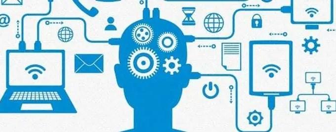 Diversos mecanismos resultados da Internet das Coisas ligados à uma cabeça humana vetorizada. Imagem em branco e azul.